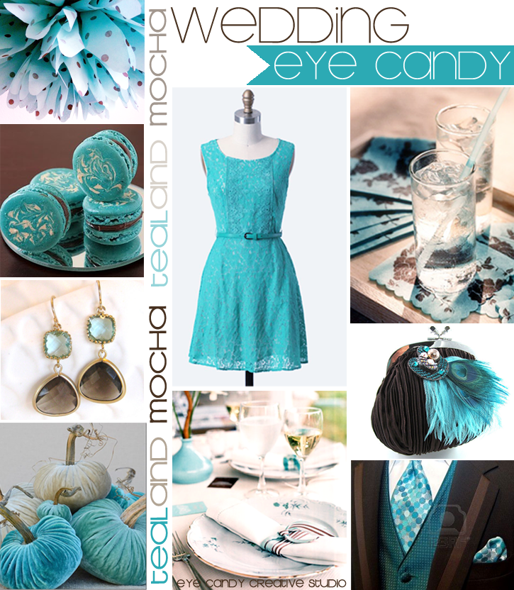 aqua & brown, wedding decor, teal wedding, mocha wedding, fall wedding