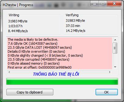 Hướng dẫn kiểm tra chất lượng thẻ nhớ bằng phần mềm H2Testw