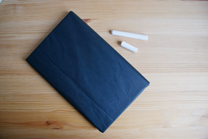 black paper chalk gift wrapping