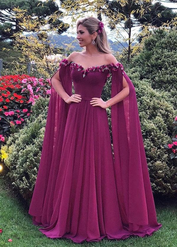 vestido de festa longo vinho marsala