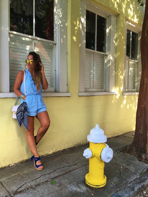 Charleston, South Carolina, Fashion blogger, summers style, romper, jumpsuit, pastel blue romper, forever 21 romper, east coast travel, canadian fashion blogger, toronto blogger, how to style a romper, how to accessorize a bag