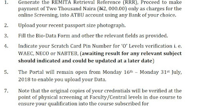 This is usually the form the university post UTME screening will take