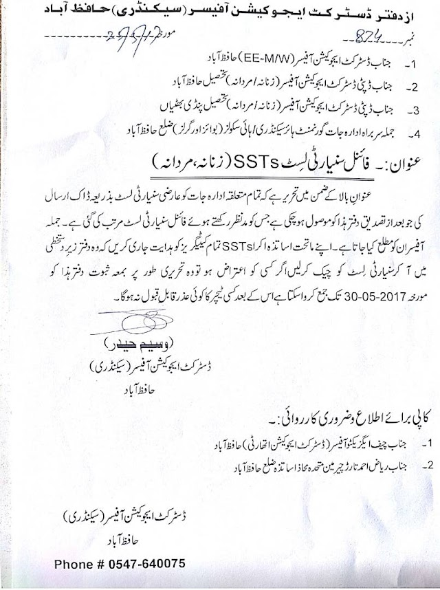 INVITATION OF OBJECTIONS IF ANY ON SENIORITY LISTS OF SSTs OF DISTRICT HAFIZABAD