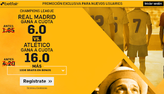 betfair Real Madrid vs Atletico supercuota 6 o 16 champions 2 mayo