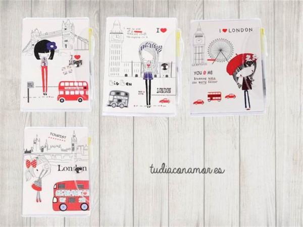Detalle de minilibretas con ilustraciones modernas para detalle de boda