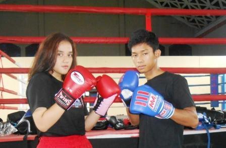 Dua atlit MuayThai asal Subang. Sitijill Halimah (16) dan Topan Novian (19) yang akan berlaga dalam kejuaraan MuayThai Internasional
