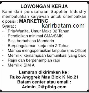 Lowongan Kerja Marketing (Mempunyai SIM A)