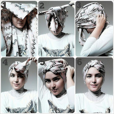 Tutorial Hijab Turban Segi Empat Modern Gaya #6 Fashionista Simple