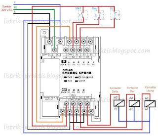 Wiring PLC pengasutan motor star-delta