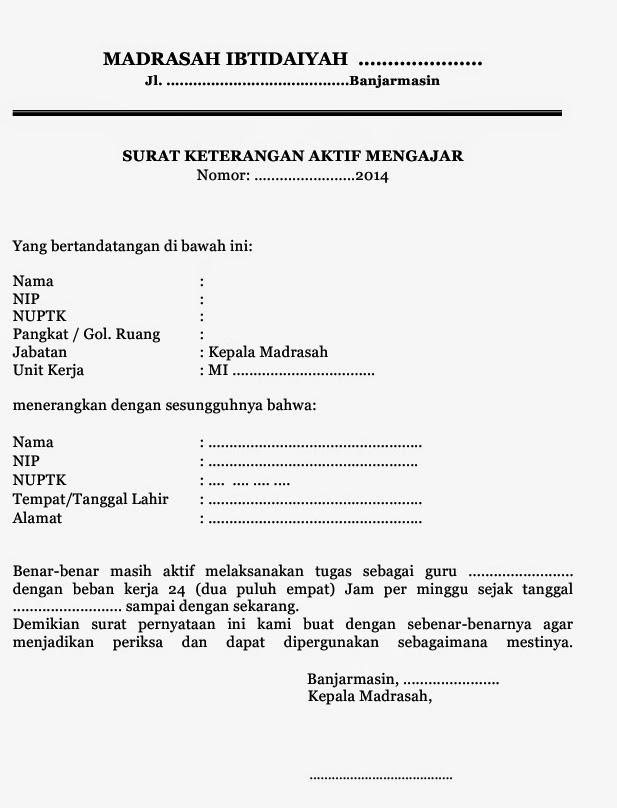Contoh Surat Keterangan Nuptk Masih Aktif Suratmenyuratnet