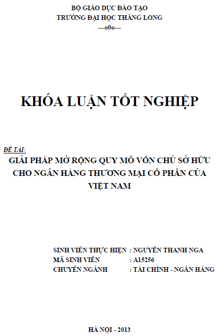 Giải pháp mở rộng quy mô vốn chủ sở hữu cho Ngân hàng Thương mại Cổ phần của Việt Nam