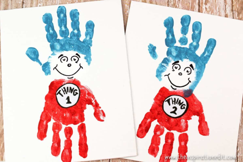 Dr Seuss Activities for Toddlers - Cat in the hat handprints thing 1 and thing 2
