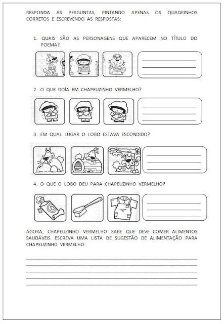 Atividades para Alfabetização - Chapeuzinho Vermelho