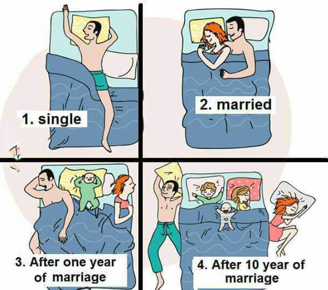 16 Funny Pictures Of The Startling Differences Between Single And Married Life - Sleeping
