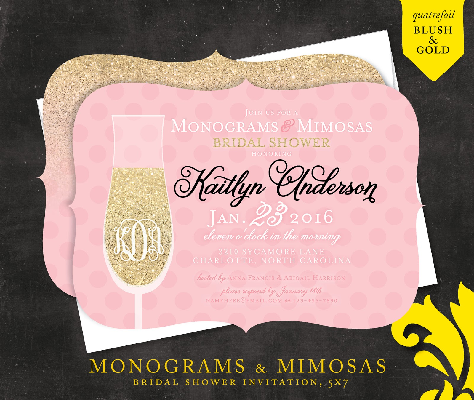 a8616bd9009e Nealon Design  Mimosas   Monograms — Bridal Shower Invitation