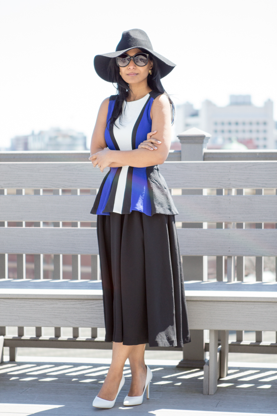 circle skirt, peplum top, spring fashion, white pumps, charles david, color-blocked, bright blue, black floppy hat, sporty chic, minimalist, spring lookbook, petite fashion, mom style, mom fashion, boston street style, summer