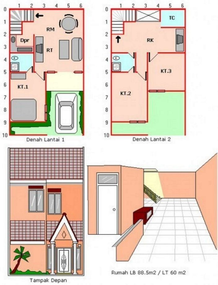 denah rumah sederhana 2 lantai menarik
