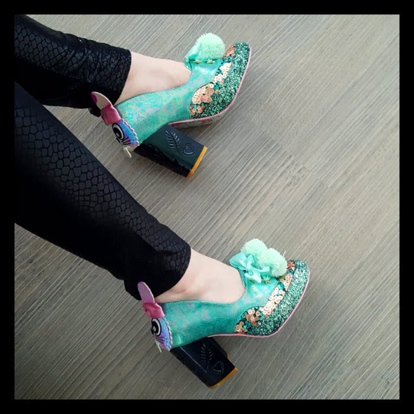 wearing irregular choice snuggle bunnie green shoes