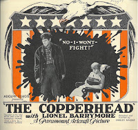 "front of a promotional flyer for Lionel Barrymore's ""The Copperhead"" at the Nugget Theater"