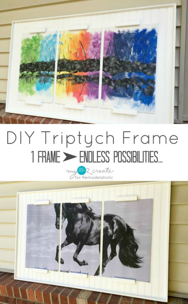 Not only is this DIY Triptych Frame from MyLove2Create easy to build but it makes a huge statement in the home, with endless possibilities of displaying art, family photos, and even seasonal art.  This is a must do project to fill a large blank wall too!