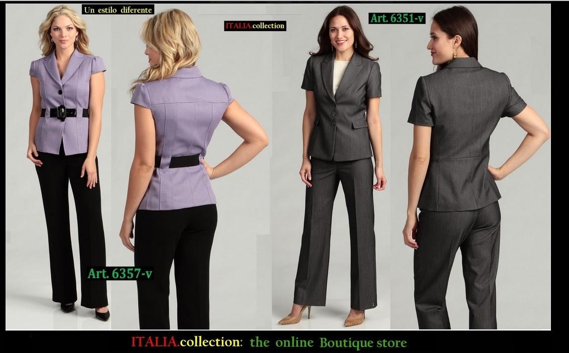 Trajes ejecutivos para dama manga corta Diseno de uniformes para oficina 2017