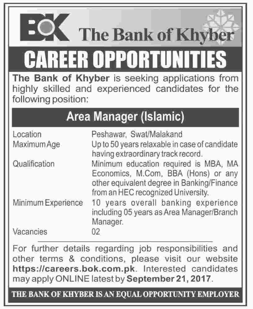 Jobs In Area Manager The Bank Of Khyber  Sep 2017