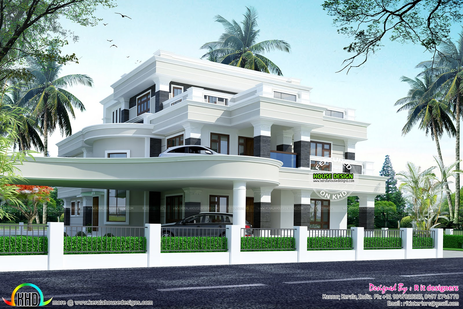 Modern With Upper Level Car Parking Kerala Home Design