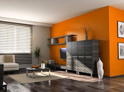 Sala en naranja y gris