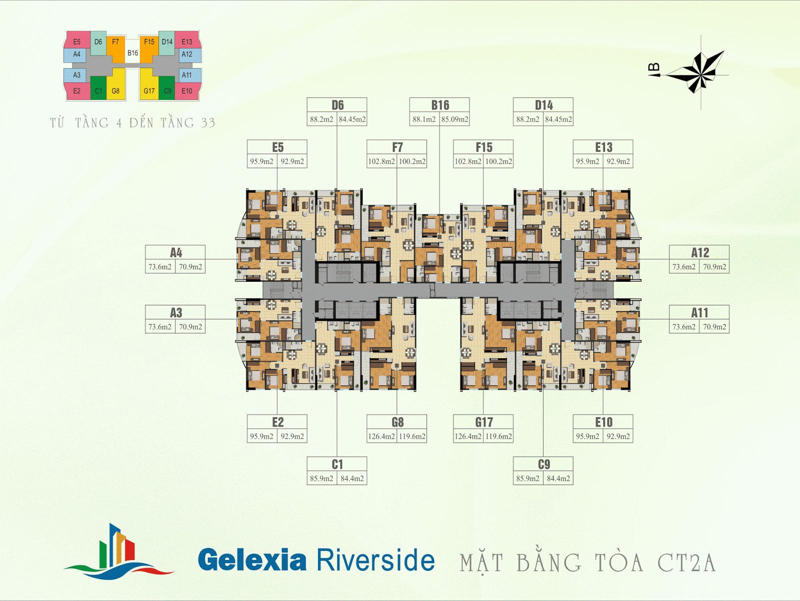 Mặt bằng điển hình tòa CT2A - Gelexia Riverside