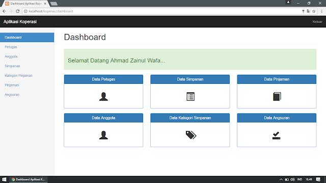 Dashboard Aplikasi Koperasi Simpan Pinjam Berbasis Web dengan PHP dan Bootstrap