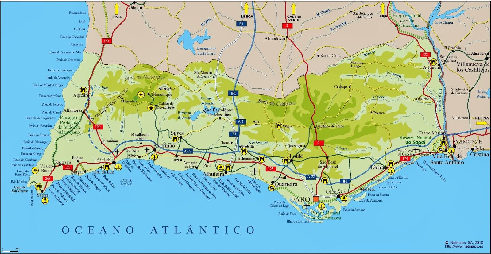 Mapa del Algarve.