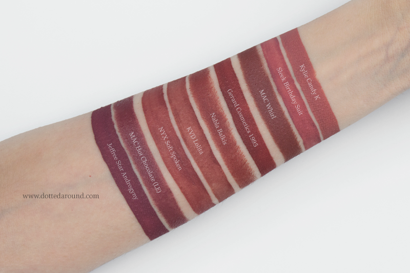 Kat Von D Lolita liquid Lipstick dupes swatch Androgyny NYX Candy K