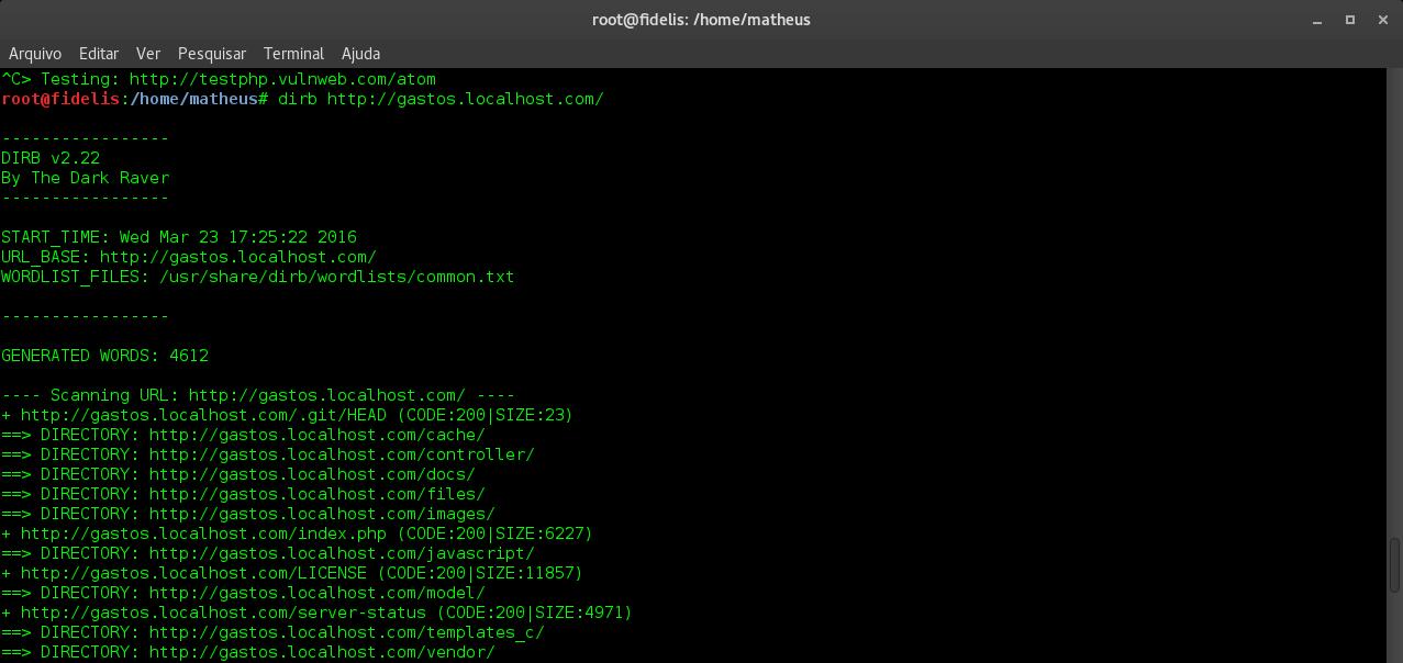 Dirb :: Coleta de Informações de Diretórios de um servidor Web