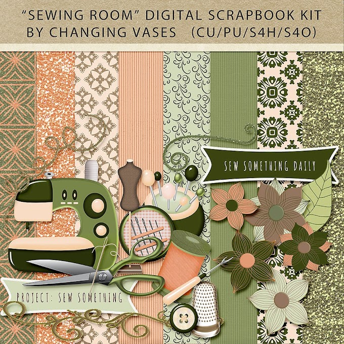 """Sewing Room"" Digital Scrapbook Kit with FREE Journal Cards"