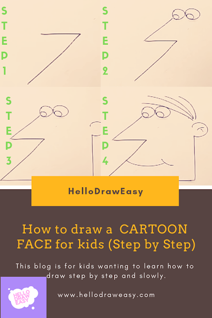 How to draw a 'FUNNY CARTOON FACE'for kids