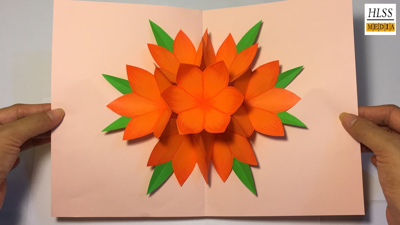 making 3d flower pop up card easy pop up card tutorial 3d paper flower