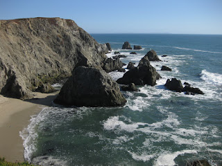 View of cliffs and the the rocky shoreline, looking south from Bodega Head, California
