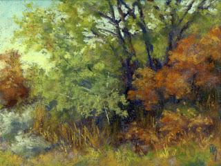 landscape painting pastel autumn fall nature tree bush