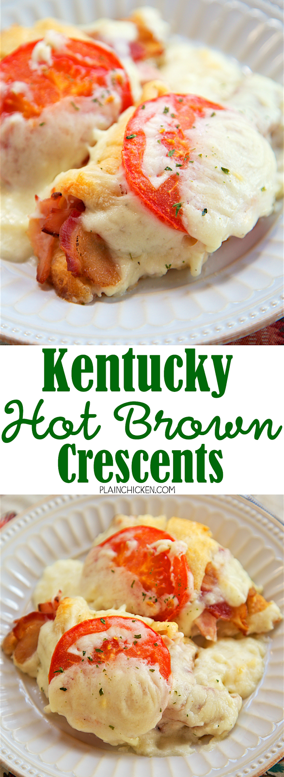 Kentucky Hot Brown Crescents - Turkey and bacon wrapped in crescent rolls and topped with a tomato slice and a homemade swiss cheese sauce and baked. SOOO good! Perfect for you Kentucky Derby party or a delicious lunch or dinner!