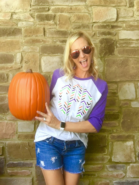 Cute monogrammed halloween baseball style tees! Feathered Nest Boutique has the cutest tees!