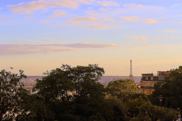 View over Paris and the Eiffel Tower from Montmartre