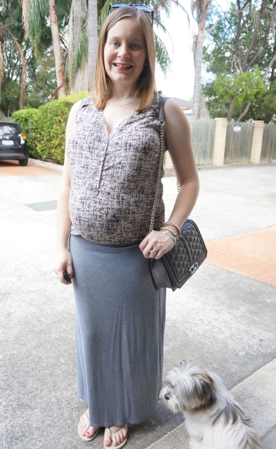 Away From Blue | Printed tank tucked into grey maxi skirt third trimester BBQ outfit