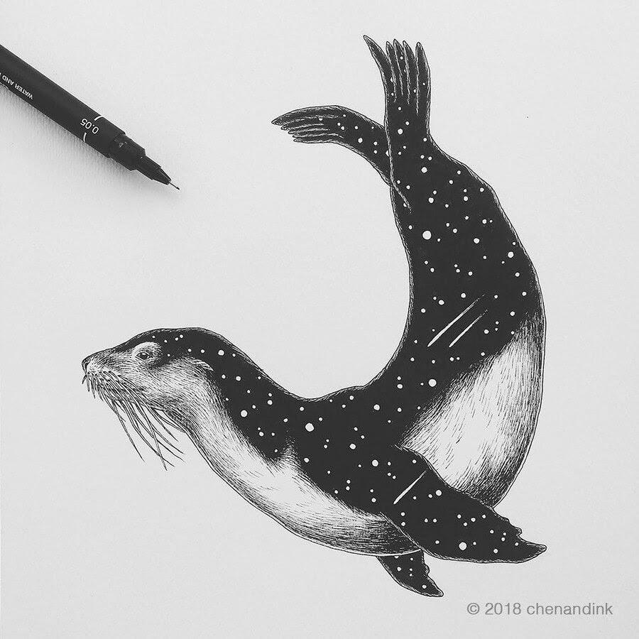 14-Sea-Lion-Astral-Animals-Chen-Naje-www-designstack-co