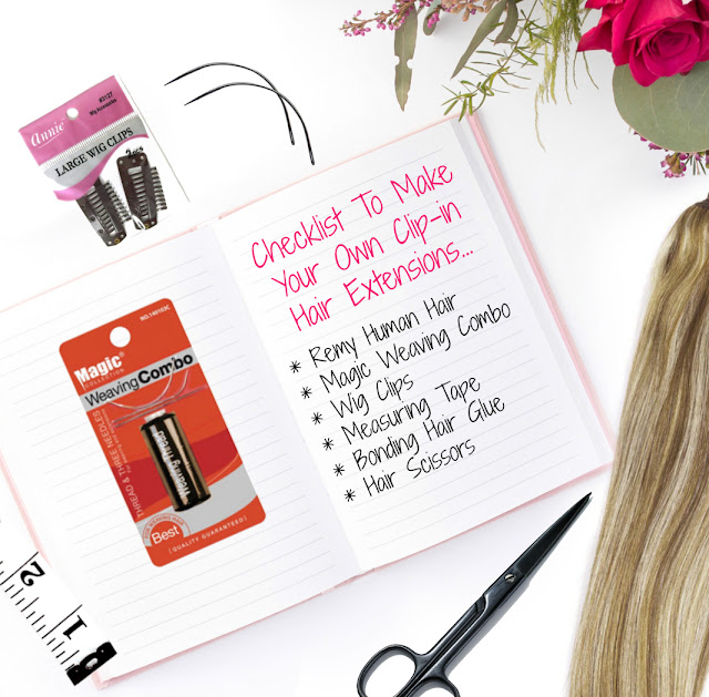 Products needed to make your own Clip in Hair extensions by Barbies Beauty Bits and Divatress