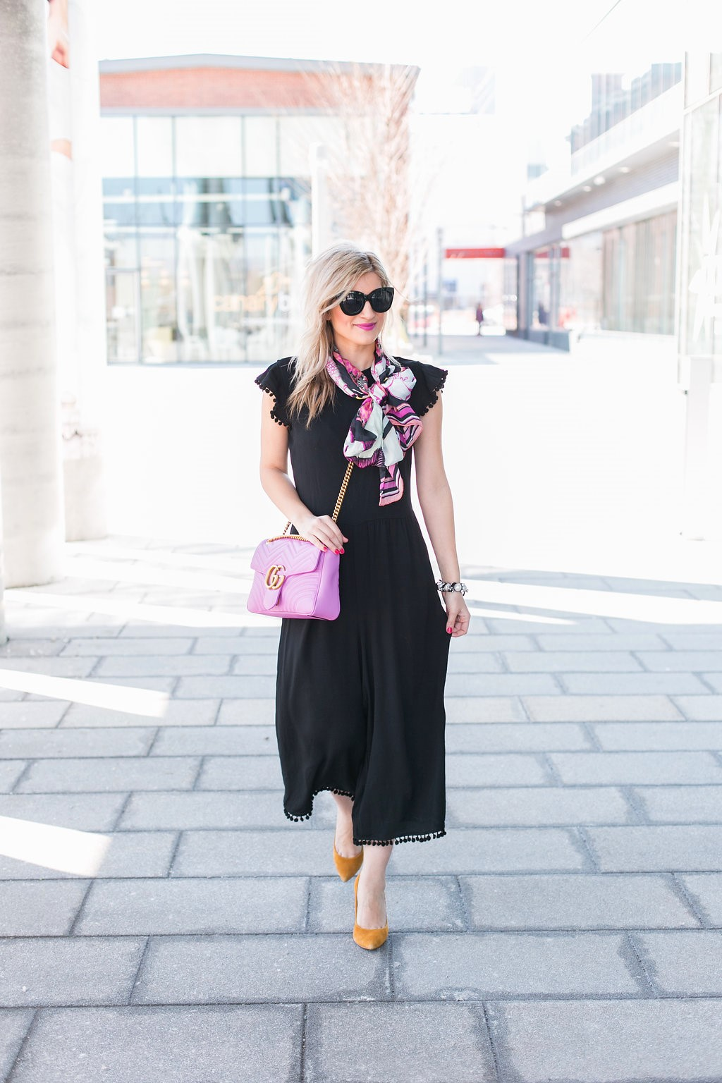 4e6bdb732c40 Bijuleni - GG marmont Matelasse Shoulder Bag, Zara Jumpsuit, Ted Baker big  bow scarf