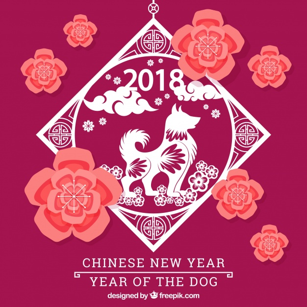 Pink chinese new year design Free Vector