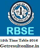 Rajasthan Board 12th Time Table 2016