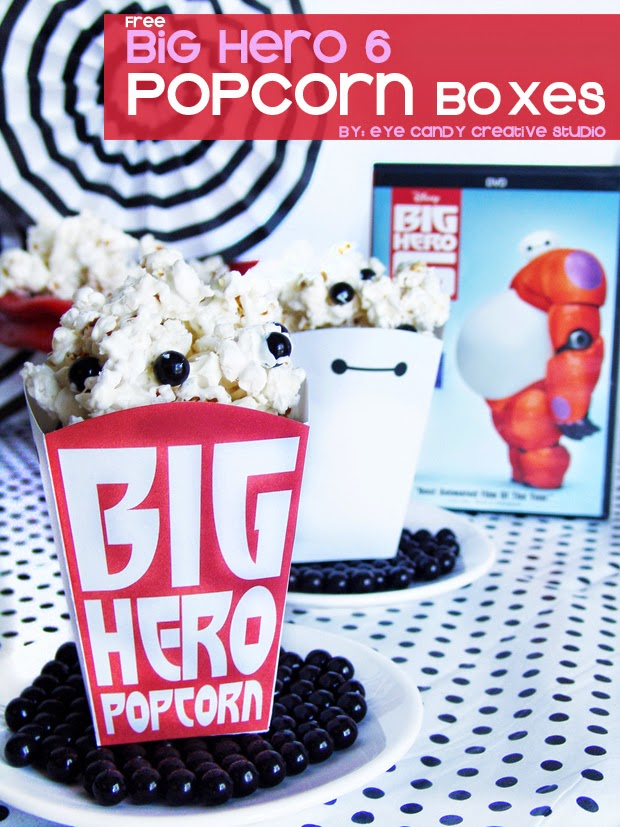 free popcorn box, movie night, Disney movie, Baymax, Big Hero popcorn