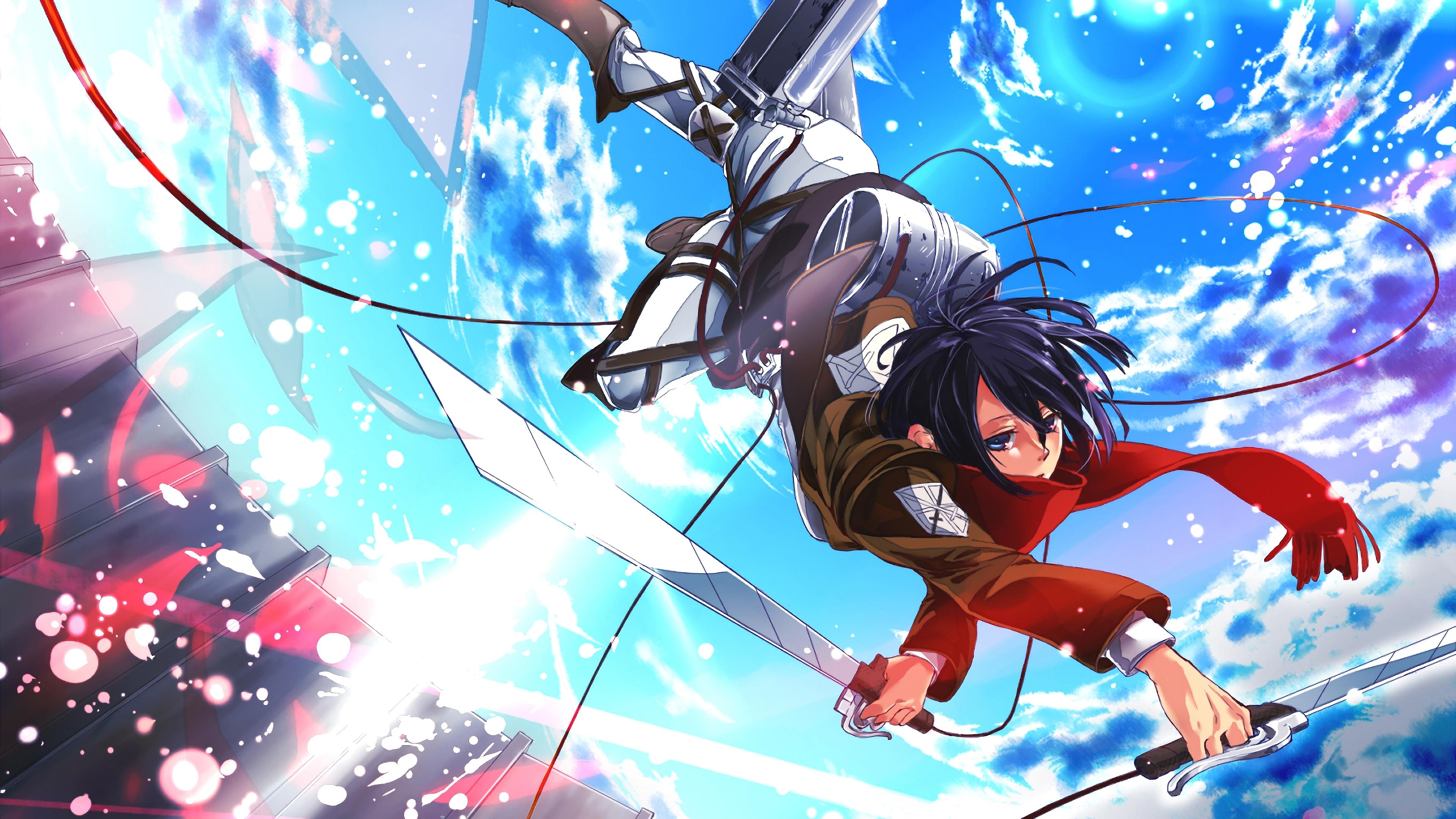 Dual, kyojin, multi, shingeki, 3840x1080, 132518. Mikasa, Attack on Titan, 4K, #148 Wallpaper