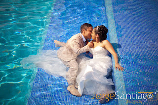 Trash the dress in the pool